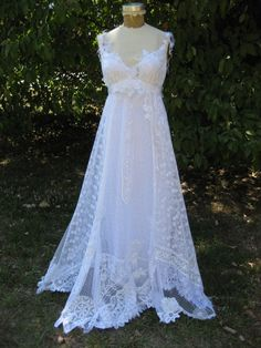 Hippie Lace Collage Gown in White One of a Kind - Looks so roughly put together even *I* could make this one :P