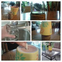 Make a patio ashtray using a water filled jar (or can), cover with twine & invert a painted flower pot. No more stinky wet astrays.