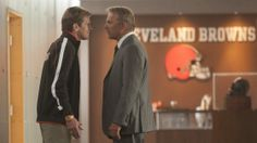 "Sonny Weaver (Kevin Costner) goes nose to nose with the Browns on-field leader coach Penn (Denis Leary) in ""Draft Day. Football Movies, Football Fans, August Osage, Browns Fans, Football Conference, Kevin Costner, Win Or Lose, Reality Check, Cleveland Browns"