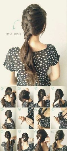 5 One Minute Basic Ponytail Hairstyles Tutorial for Daily Style - half french braided ponytail - ins Ponytail Hairstyles Tutorial, Braided Ponytail Hairstyles, Braided Hairstyles Tutorials, Pretty Hairstyles, Ponytail Tutorial, Hairstyle Ideas, Straight Hairstyles, Hair Ideas, Bride Hairstyles