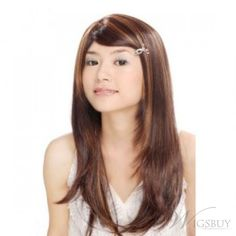 Hot Sale Long Atrractive Straight  Brown 18 Inches Top Quality Cheap Wig