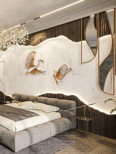 Bedroom Wall Designs, Modern Bedroom Design, Home Room Design, Master Bedroom Design, Home Interior Design, Living Room Designs, Modern Luxury Bedroom, Luxurious Bedrooms, Lobby Interior