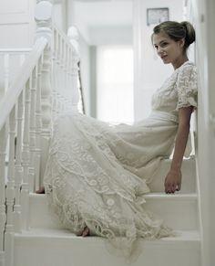 robe de mariée vintage années 30 avec manches courtes en dentelle