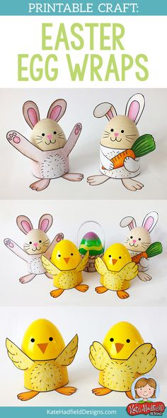 Easy printable Easter egg wrap craft for kids! | Make cute stands for decorated Easter eggs! Just print, colour and assemble!