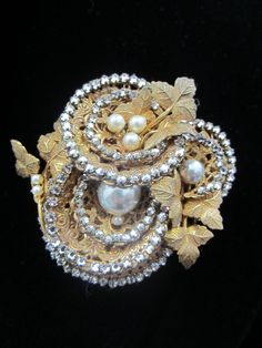 1940's SIGNED Miriam Haskell Baroque Glass Pearl Necklace and Brooch