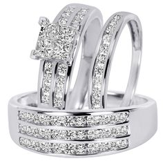 Nice 3 Pcs Hers Stainless Steel His Tungsten Wedding Engagement