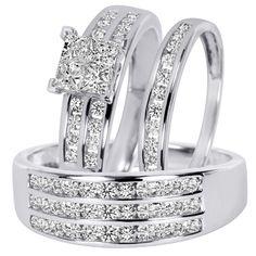 1 23 carat tw diamond trio matching wedding ring set 10k white gold