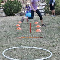 Backyard Obstacle Course- Set up activity course with anything you have like horseshoes, jump ropes, hula hoops, frisbees, balls, target, pogo stick, .  You can include the swingset, slide, or climbing bars.  Have kids do any number of activities using these supplies- throw, hop, run, bounce, kick, aim, balance, crawl...