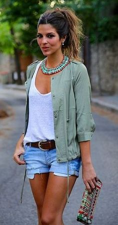 Great statement necklace, white tee, (or striped navy tee) with boyfriend jeans, an open khaki jacket and a great leather belt! Pulled together style that's classic and comfy!