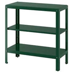 KOLBJÖRN Shelving unit in/outdoor, green. Suitable for both indoor and outdoor use. The shelving unit is durable, easy to clean and protected from rust since it is made of powder-coated galvanised steel. Outdoor Shelves, Outdoor Storage, Storage Benches, Storage Shelves, Green Shelves, Ikea Regal, Paper Industry, Wood Supply, Parasol