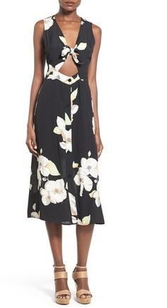 Leith Floral Tie Front Midi Dress