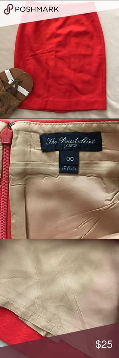 """Orange J. Crew pencil skirt No flaws!  Great color!  Measures 20 1/2"""" long and 13"""" flat across the waist approximately J. Crew Skirts Pencil"""