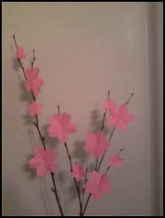Origami cherry blossoms for a baby shower.