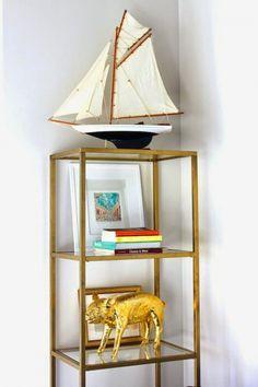 DIY Gold Etagere From An IKEA Shelf - http://www.homedecority.com/decorating-ideas/diy-gold-etagere-from-an-ikea-shelf.html