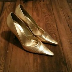 BCBG Girl Gorgeous Gold Reptile Embossed Pumps Gently used - like new BCBGirls Shoes Heels