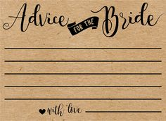 Advice for the bride cards. bridal advice cards. bridal shower advice cards. wedding shower advice cards. bridal advice. bridal shower activities. bridal shower games.
