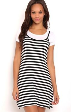 Deb Shops Layered Striped Spaghetti Strap Dress with Baby Tee $25.00