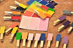 Preschool Paint Chip color matching... Good for fine motor skills & muscle development too