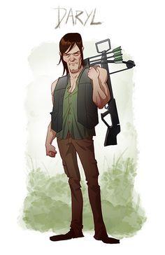 Walking-Dead-Cartoon-by-Edward-Pun-Daryl