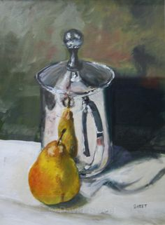 Pear and Silver Jug - Oil Paintings Oil Paintings, Pear, Silver, Oil On Canvas, Art Oil, Money