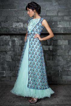 Embroidered Yoke Anarkali Suit | Strandofsilk.com - Indian Designers
