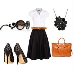 Classic black skirt outfit idea for spring 2014