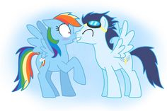 Rainbow and Soarin nuzzling.