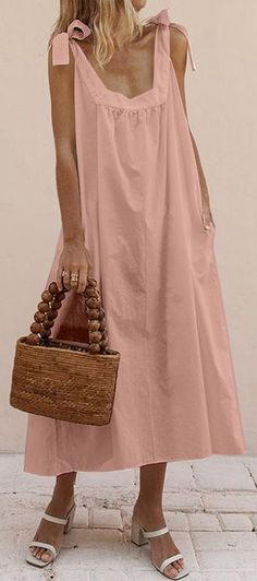 Summer Women Bow Lace Up Sleeveless Loose Sundress New Lady Female Solid Dress Holiday Fresh Girls Mid-Calf Vest Dress Plus 2019 Size S Color Khaki New Trend Dress, Robes Midi, Style Casual, Casual Styles, Trendy Dresses, Midi Dresses, Sleeveless Dresses, Dress Outfits, Mode Style