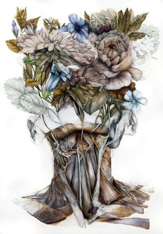 Bologna-based Italian artist Nunzio Paci (previously here and here) produces hauntingly detailed paintings that combine anatomical renderings with multi-colored blossoms and leaves. His latest series, Mimesis, is inspired by the idea of species evolving t Art Inspo, Inspiration Art, Nunzio Paci, Art Et Nature, Human Anatomy Art, A Level Art Sketchbook, Art Du Collage, Detailed Paintings, Mother Art