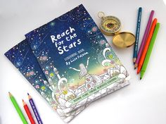 Coloring Book for Grown-Ups Reach for the Stars |   adult coloring book for adults, 16 pages, mindfulness, inner stength | by Meluseena
