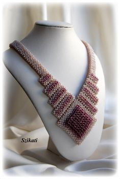 Beaded beige eggplant seed bead Right Angle Weave necklace