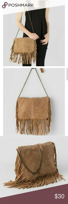 Francesca's Genuine suede xenos crossbody bag NWOT super cute and stylish!  Pairs with just about any outfit.  Genuine suede.  Same or next day shipping guaranteed! Francesca's Collections Bags Shoulder Bags