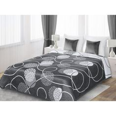 Prehoz obojstranný na manželskú posteľ sivej farby s bielymi guľami