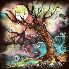 Tree 2 Commission Work Batik Cotton Painting 14 inch x 14 inch.