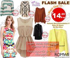 PROMOÇÃO Relâmpago #Romwe - 48 horas de ofertas com peças apartir de $14,99.   Super slim price flash sale! Only 48 hours! Fashionable best sellers! $14.99 up! Don't miss, girls!