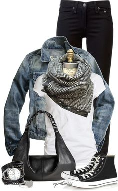 love the scarf_ Black jeans, black converse, white shirt, chevron scarf, jean jacket, silver jewelry