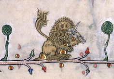 rabbits, headless people, and a lion playing the violin in the Breviary of Renaud de Bar, France, - Bizarre and vulgar illustrations from illuminated medieval manuscripts Medieval Books, Medieval Life, Medieval Manuscript, Medieval Art, Renaissance Art, Illuminated Letters, Illuminated Manuscript, Art Magique, Medieval Drawings