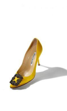 Manolo Blahnik Hangisi Yellow Satin Jewel Buckled Pump #highheels #celebrity #rtw2018 #outfitideas #blackfriday #cybermonday2018 #musthave Manolo Blahnik Hangisi, Kitten Heels, High Heels, Celebrity, Satin, Pumps, Flats, Jewels, Yellow