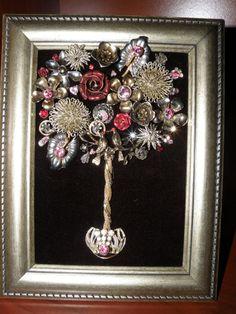 One-of-a-Kind Framed Vintage Jewelry Art by JewelArtbyLinda