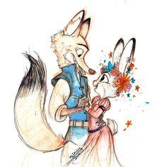 Zootopia - Nick Wilde x Judy Hopps - Wildehopps Disney Kunst, Arte Disney, Disney Fan Art, Disney Love, Disney Magic, Nick Wilde, Film D'animation, Film Serie, Disney Animation