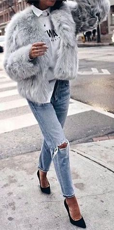#winter #fashion / Grey Faux Fur Jacket / Destroyed Jeans / Black Pu,ps Breathtaking viewpoint