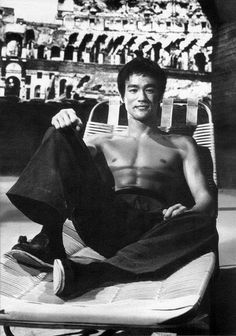 Bruce Lee on the set of the way of the dragon