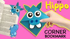 How to make a easy hippo bookmark corner in less than 10 minutes.  Watch for other animal bookmarks and build your own zoo :)  Don't forget to subscribe for easy paper crafts for kids. Paper Bookmarks, Corner Bookmarks, Paper Crafts For Kids, Build Your Own, Pikachu, Don't Forget, How To Make, Animals, Watch
