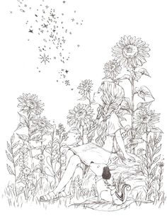 The Fox and the little Plover by Bernhard Oberdieck (pencil illustration) Blank Coloring Pages, Printable Adult Coloring Pages, Coloring Books, Anime Lineart, Scratchboard Art, Manga Drawing Tutorials, Fairy Coloring, Anime Art Girl, Colorful Pictures