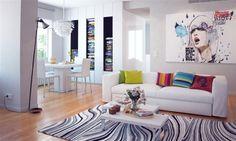 Salón moderno y colorido