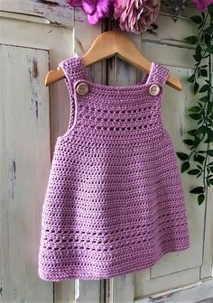 Crochet Baby Dress Free Pattern, Crochet Dress Girl, Baby Dress Patterns, Baby Clothes Patterns, Baby Girl Crochet, Knitted Baby Clothes, Crochet Clothes, Baby Knitting, 3 Years