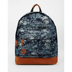 Mi-Pac Backpack in Denim Palm Tree Print ($46) ❤ liked on Polyvore featuring bags, backpacks, indigo, top handle bag, blue backpack, knapsack bags, denim bag and blue denim backpack