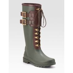 *HP!* Tory Burch Buckle Rain Boots Here are some trendy boots combining the classic green and the military-inspired lace-up features with brown buckles. During this fall/winter season, the weather can get a bit crazy, and these babies will help you be fashionable while combating all types of weather. Retails for $225 | NEW (has a few small scuffs from being moved around a lot, but never worn) | Size: 9 | Make an offer! **Host Picked for STEALS & SPLURGES: BLACK FRIDAY Party!! 11/27** Tory…