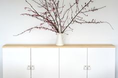 cherry blossoms on a modern buffet