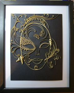 Quilled Venetian Mask in a black wooden by NBeltramiCreations (Etsy.Com)